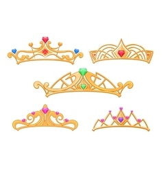 Princess crowns tiaras with gems cartoon vector