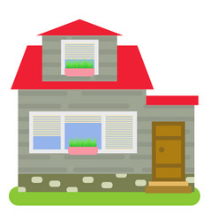 private house with a red roof vector image