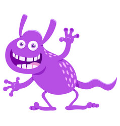 Purple fantasy cartoon monster character vector