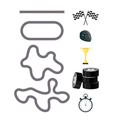 race car competition icon set vector image