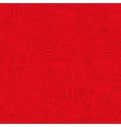 Red Grill Menu Line Tile Pattern vector image