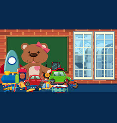Room with many toys on floor vector
