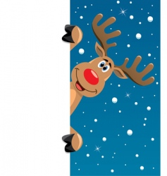 Rudolph deer with blank paper vector image