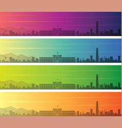 santiago de chile multiple color gradient skyline vector image