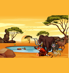Scene with many animals in field vector