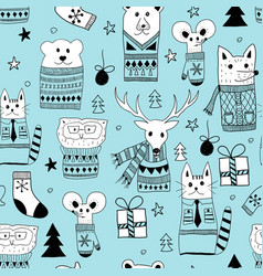 seamless christmas pattern with doodle animals vector image