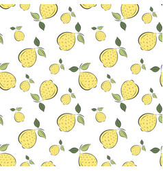 Seamless pattern graphic lemons on a white backgro vector