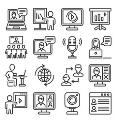 seminar and webinar video meeting icons set vector image