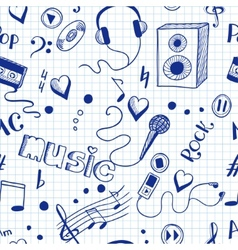Semless background with sketch music elements vector image