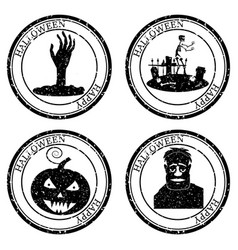 Set halloween stamp postal icon hand cemetery vector