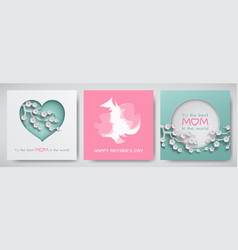 set of greeting card for mothers day vector image