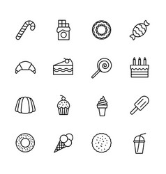 simple icon set confectionery pastries and sweets vector image