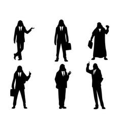 six silhouettes arab businessmen vector image