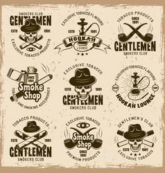 smoking gentlemen club set of emblems vector image