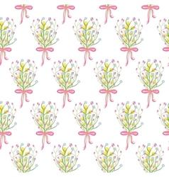 Spring wild flower bouquet seamless pattern vector image