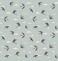 swallows pattern retro vector image