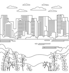 Thin line city landscape flat panorama design vector