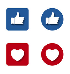 thumbs up and heart button icon like and heart vector image