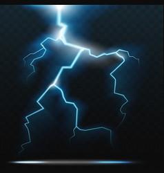 Thunder bolt lightning realistic thunderstorm vector