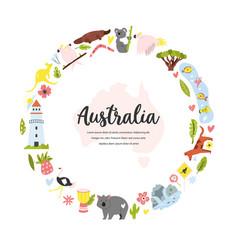 Tourist poster with symbols animals australia vector