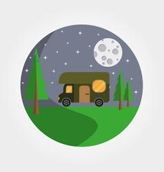 Trailer house on wheels logotype recreation in vector