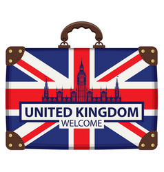 Travel suitcase with flag britain and big ben vector