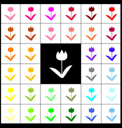 Tulip sign felt-pen 33 colorful icons at vector