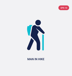 Two color man in hike icon from humans concept vector