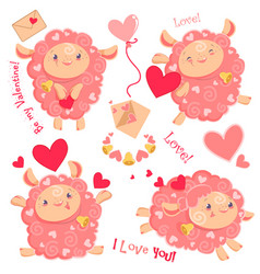 Valentine day clipart set of vector