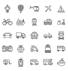 vehicle line icons on white background vector image