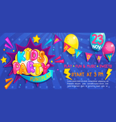 Wide cute banner for kids party in cartoon style vector