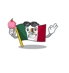 With ice cream flag mexico character in mascot vector