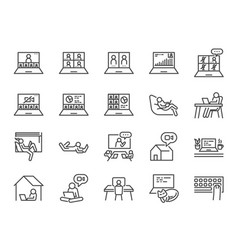 work from home line icon set vector image