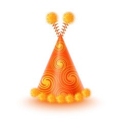 Yellow party hat with spirals and pompons vector