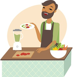 Young man preparing meal vector image