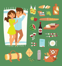 barbecue summer picnic lie man and woman lovely vector image
