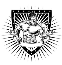bodybuilder shield vector image vector image