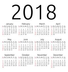 calendar 2018 sunday vector image