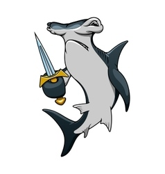 Cartoon hammerhead shark pirate with sword vector image vector image