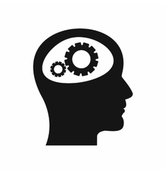 Gear in head icon simple style vector image