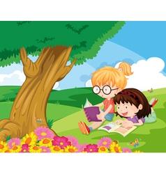 girls at park vector image