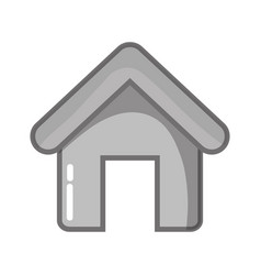 grayscale house object with roof and door vector image vector image