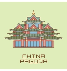 Buddist Pagoda white line drawn vector image