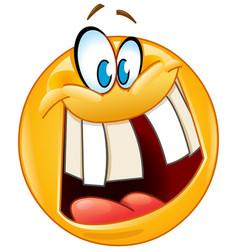 crazy smile emoticon vector image vector image