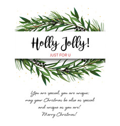 greeting card invite with pine tree greene vector image vector image