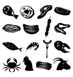 Meat foods icons set vector image