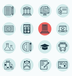 set of 16 education icons includes transport vector image vector image