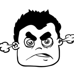 simple black and white angry boy vector image vector image