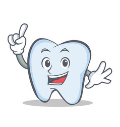 tooth character cartoon style with one finger vector image vector image
