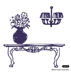 Vintage table vase with flowers and chandelier vector image vector image
